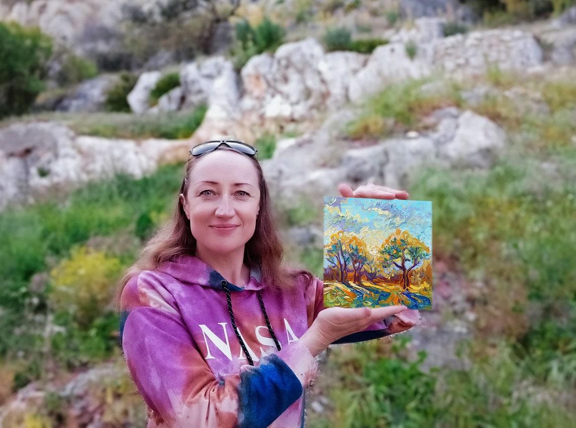 Napa Valley Painting California Original Art Pine Tree Van ...