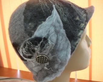 Felted cloche, felted hat, handmade , wool hat, elegant, warm