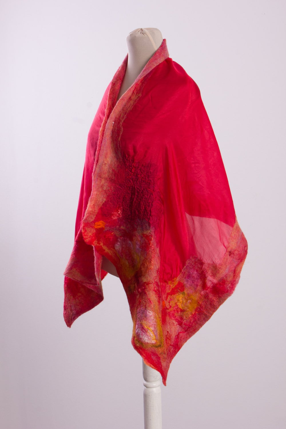 Vintage Scarf Styles -1920s to 1960s Blanket Scarf in Red, Boho Shawl, Wrap, Wool Felted Scarf, Sweater Wrap Lightweight Wet Felted Nuno $56.00 AT vintagedancer.com
