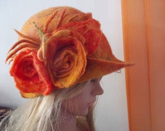 Felt hat, Vintage felt hat, Woman felt hat, Woman cloche hat, Handmade felt hat