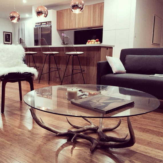 Glass Coffee Tables Etsy: Items Similar To Naturally Shed Deer Antler & Round Glass