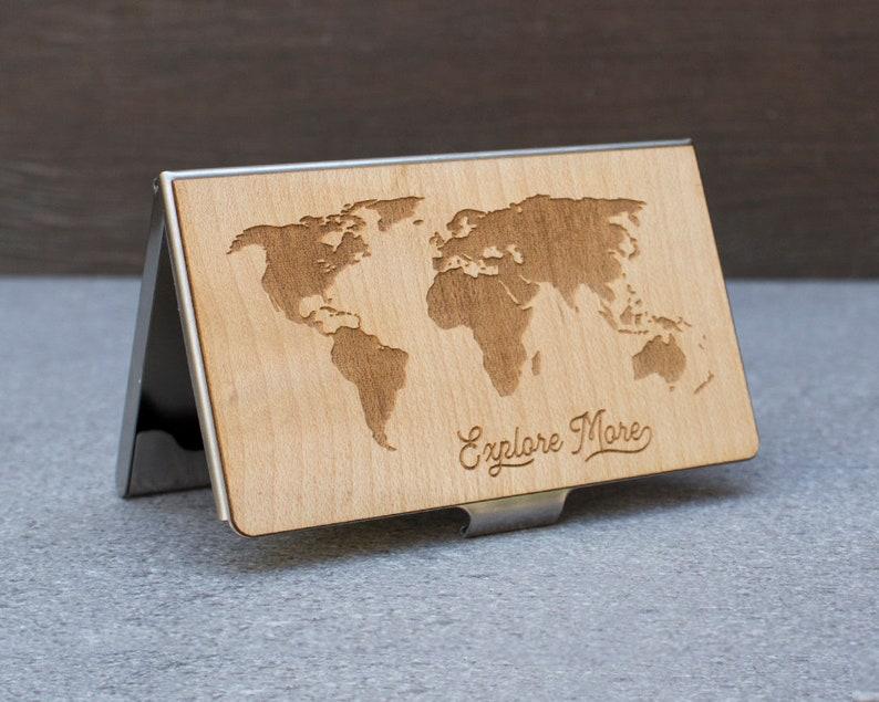Visitenkarten Etui Kreditkartenetui Kostenlose Gravur Fernweh Visitenkartenhalter Holz Brieftasche Kartenhalter Karten Etui Holz Kartenetui