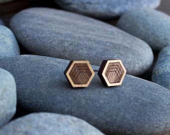 Hexagon studs, Wooden Earrings, Stud Earrings, Men's earrings, geometric earrings, girlfriend gift, wood anniversary, boyfriend gift