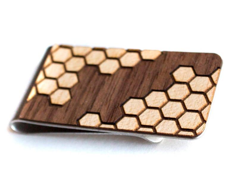 Extreem Minimalist wallet money clip card holder laser cut wood | Etsy &AO39