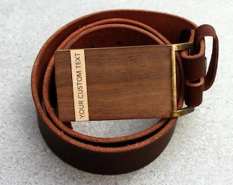 Custom Belt Buckle, 5 year anniversary gift, personalized wood belt buckle, wood anniversary gift, leather belt