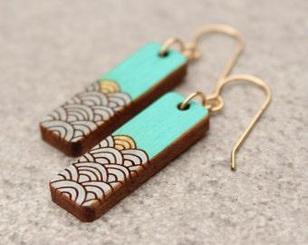 Ocean Earrings, Ocean waves, Teal Earrings, Wave Earrings, wood earrings, Ocean Jewelry, Gift for girlfriend, summer earrings