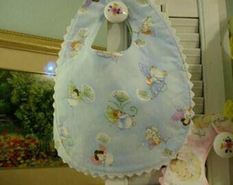 Sweet Little Fairies on Blue w/ Rick Rack Trim & Snap Closure