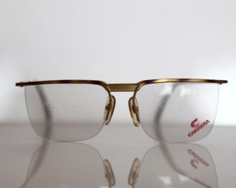 5b317ab61 Vintage CARRERA 5378 Eyewear, Gold with Brown Shades Half Rimless Frame,  Clear Faux Lenses, Rx-Able. Rare Piece. Made in Austria