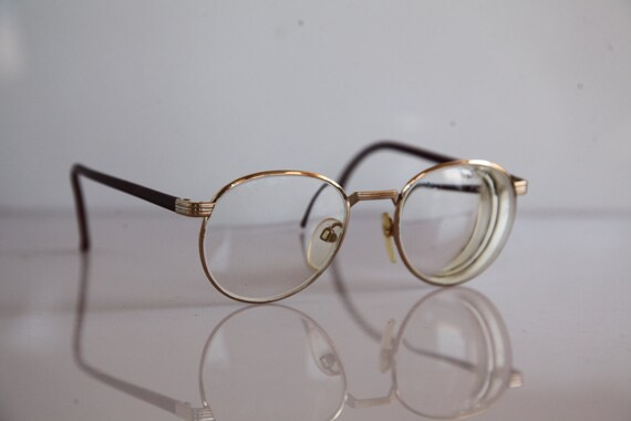 36377997758 Vintage SILHOUETTE eyewear Gold Frame Brown temples Clear