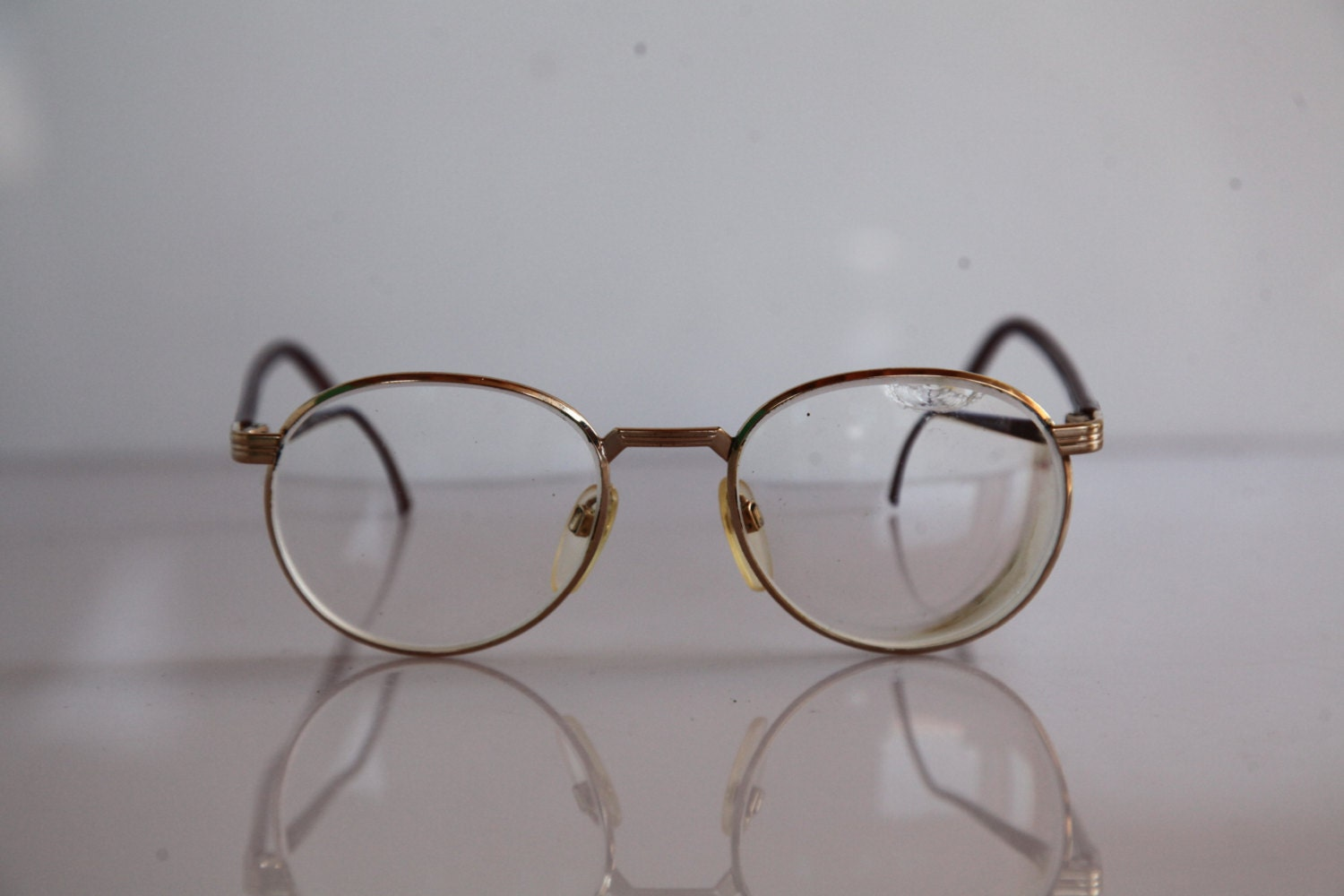 Vintage SILHOUETTE eyewear Gold Frame Brown temples Clear