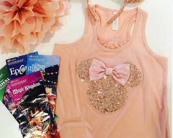Minnie Mouse Inspired Silhouette ROSE GOLD Sequin Tee or Tank & Ears Set