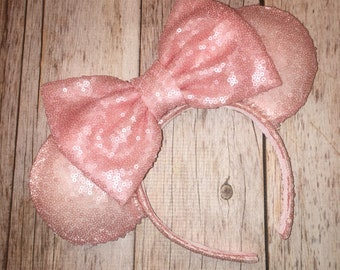 Millennial Pink SEQUIN Minnie Mouse Ears Handmade and Sewn