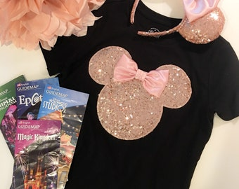 Minnie Mouse ROSE GOLD Sequin Tee Tank Ears T Shirt