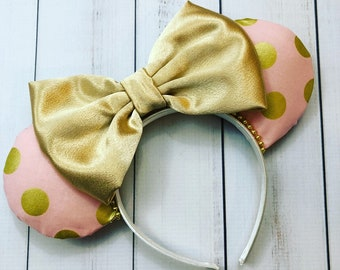 Blush Pink and Gold Polka Dot Minnie Mouse Ears
