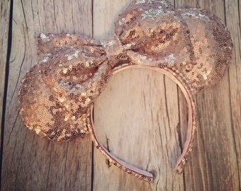 Rose Gold SEQUIN Minnie Mouse Ears Handmade and Sewn