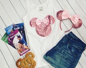 Minnie Mouse Bubblegum Pink Sequin Tee Tank Ears T Shirt