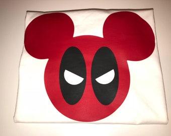 Deadpool Mickey Mouse Tee T-shirt Onesie Mens Kids Boys