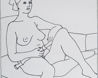 life drawing, pencil and ink drawing on paper, original art by Richard Davies