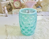 Fenton Coin Dot Juice Drinking Glass 4.25 quot Aqua Blue Frosted Opalescent Gorgeous