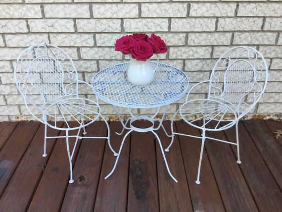 Vintage Childs Wrought Iron Patio Set Chic White Table And Etsy