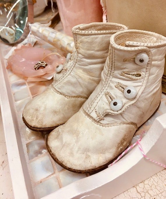 Antique High Button White Baby Shoes
