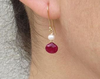 Natural ruby earrings, Ruby and pearl earrings, Faux pearl earrings, July birthstone earrings