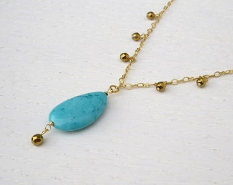 Summer SALE - Turquoise drop necklace, Turquoise and gold necklace, Hematite necklace
