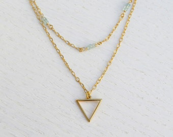 Summer SALE - Gold triangle necklace, Double strand necklace, Aquamarine necklace
