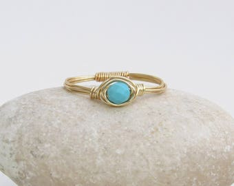 Wire wrapped turquoise ring, Turquoise solitaire ring, Turquoise ring gold