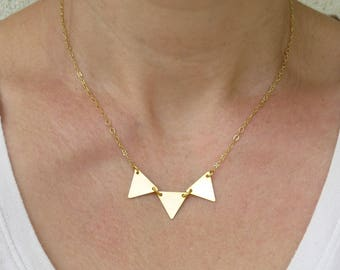 Gold triangle necklace, Triangle pendant necklace, Gold geometric necklace