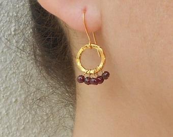 Gold loop earrings, Gold garnet earrings, January birthstone