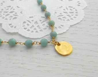 Summer SALE - Amazonite necklace, Gold coin necklace, Amazonite jewelry