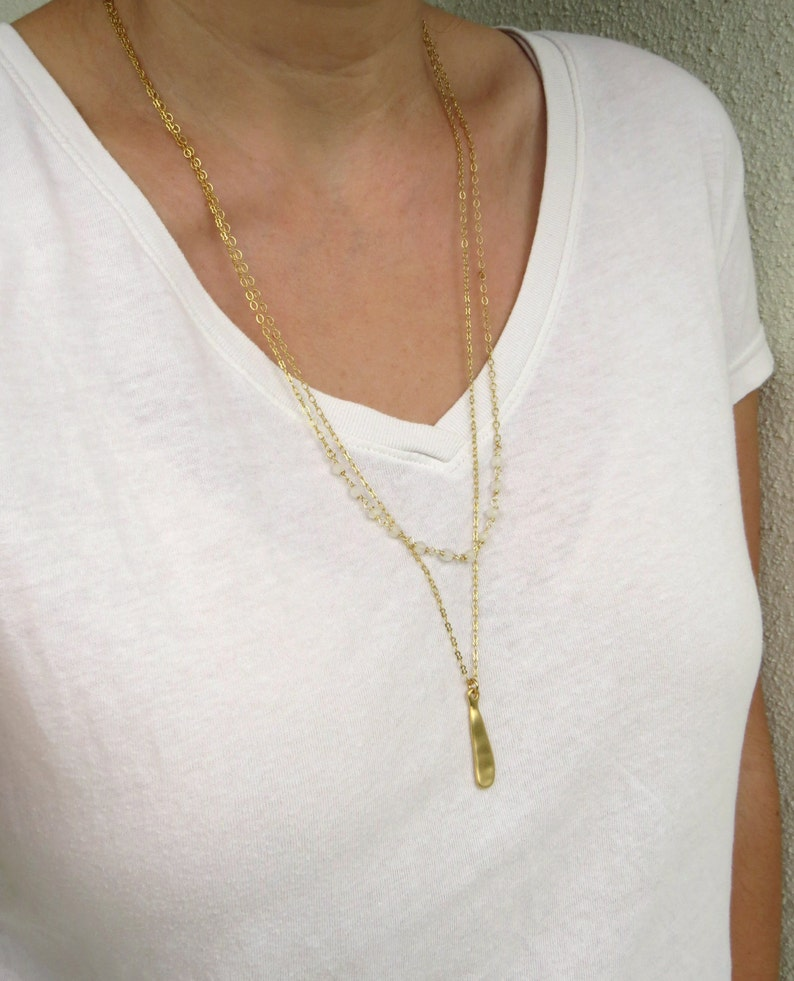 Long drop necklace Moonstone layered necklace Double strand necklace Gold moonstone necklace