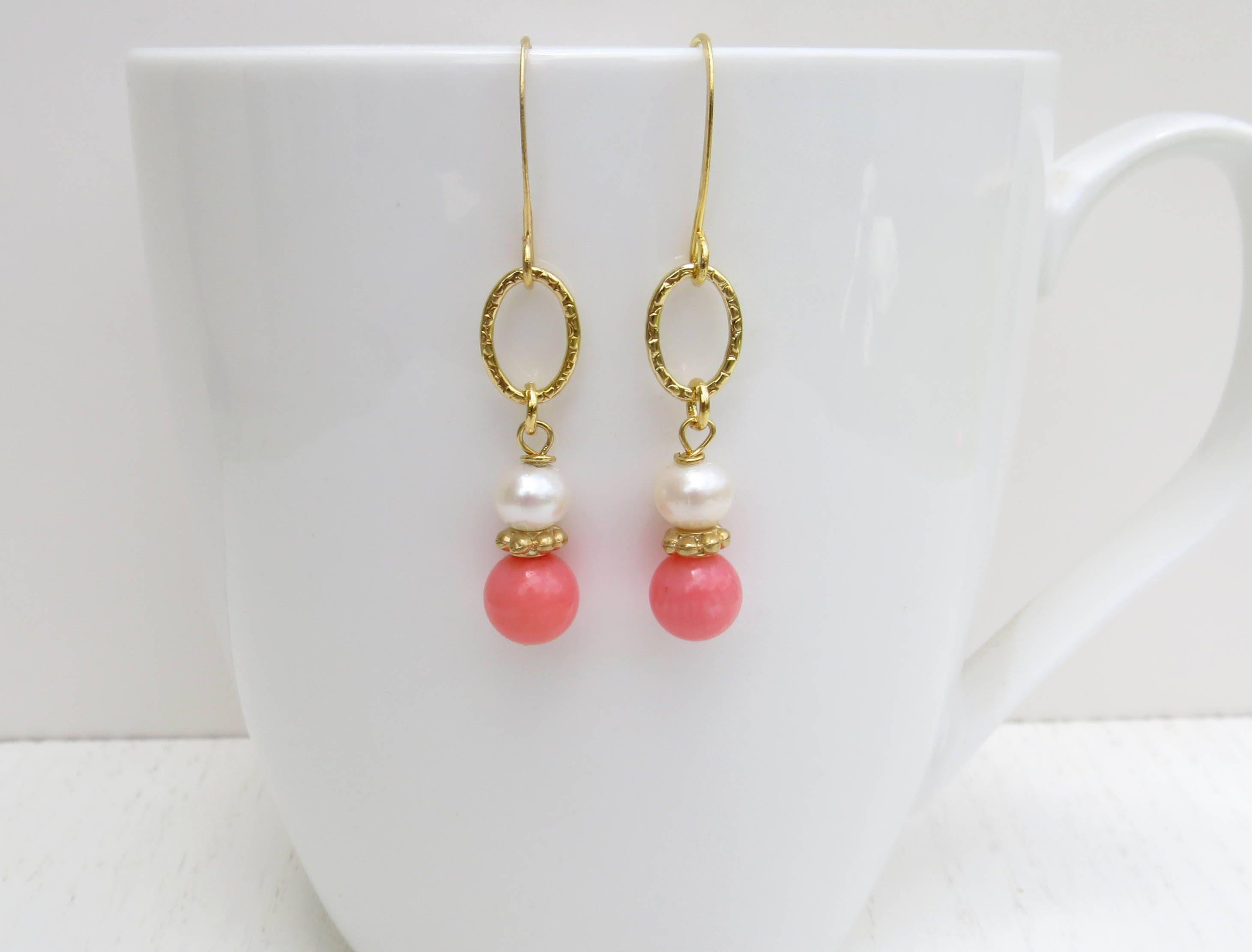 Pink Coral Earrings Gold Loop Earrings Gold And Pearl Etsy