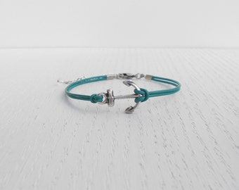 Clearance SALE - Anchor leather bracelet, Silver anchor bracelet