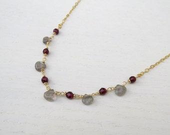 Summer SALE - Red garnet necklace gold, Labradorite necklace