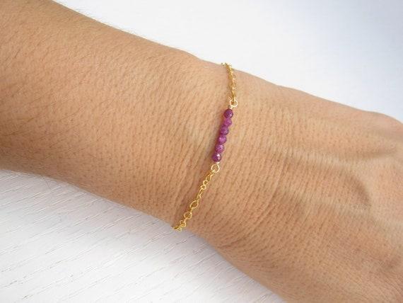 Dainty bar bracelet Gold ruby bracelet July birthstone bracelet Natural ruby bracelet