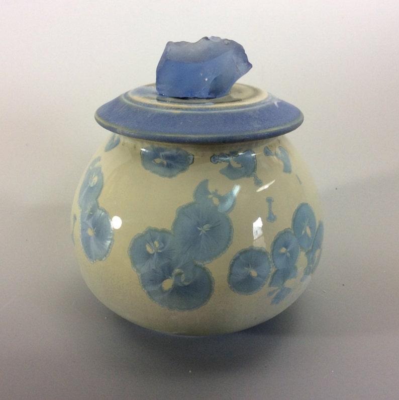 Sea glass topped crystal jar