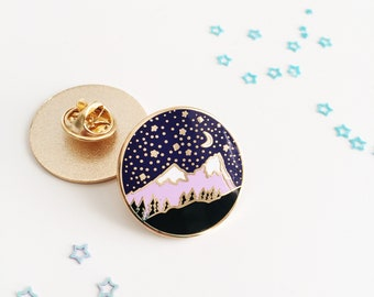 Mountain Enamel Pin - Mountain Lapel Pin - Travel Pin - Hard Enamel Pin - Backpack Pin - Explore Pin - Travel Gift - Gold Enamel Pin