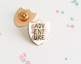 Adventure Enamel Pin - Adventure Lapel Pin - Backpack Pin - Travel Pin - Pin Badge - Hard Enamel Pin - Travel Gift - Rose Gold Enamel Pin