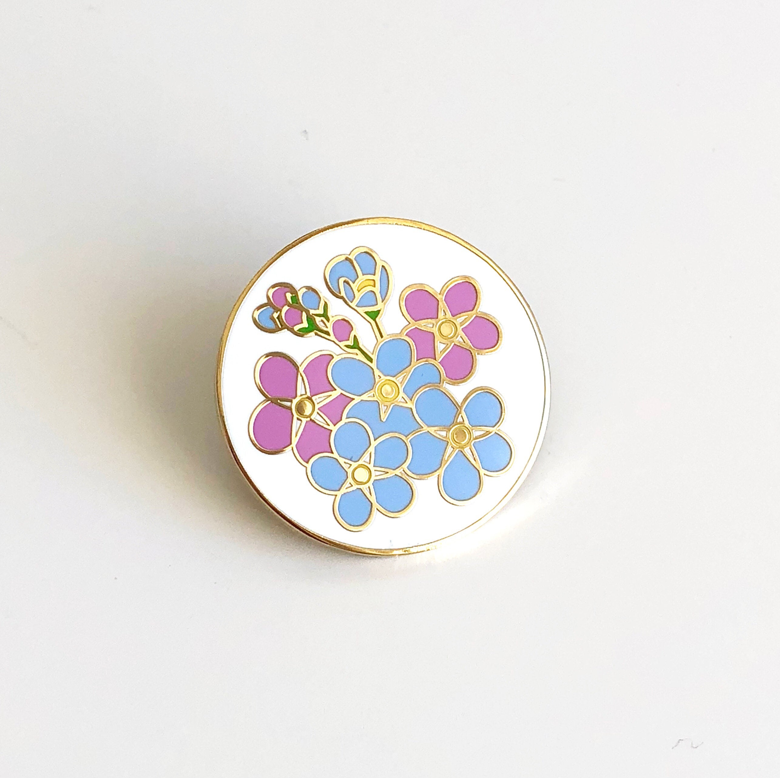 0fbb0f62ef4 Forget-me-not Enamel Pin - Alzheimer's Charity Pin - Dementia Awareness  Charity Pin - Forget Me Not Pin