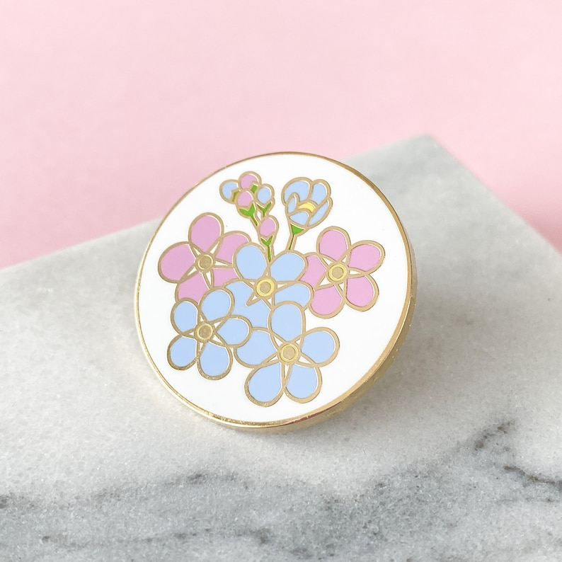 Forget-me-not Enamel Pin  Alzheimer's Charity Pin  image 0