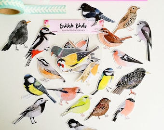 British Bird Stickers - Illustrated Stickers - Planner Stickers - Bullet Journal Stickers - Hand Cut Stickers - BuJo Stickers - Sticker Pack