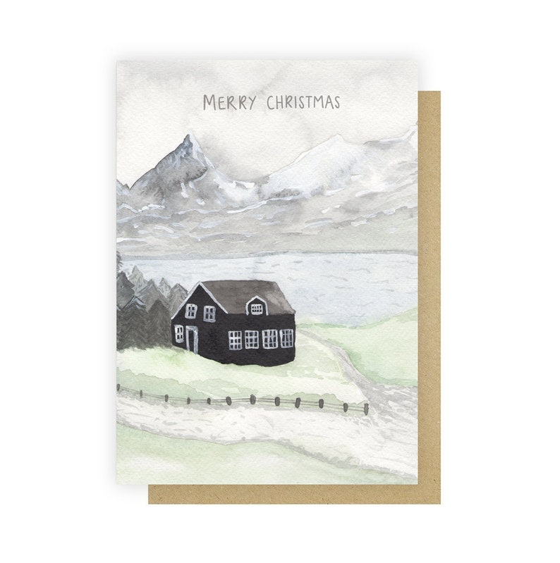 Snowy Cabin Christmas Card  Nordic Watercolour Christmas Card image 0