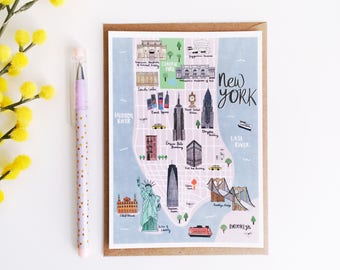 New York Map Postcard - New York Illustrated Map - Hand Lettered Map - Map of New York - Watercolour Map - NYC Map - Art Print Gift
