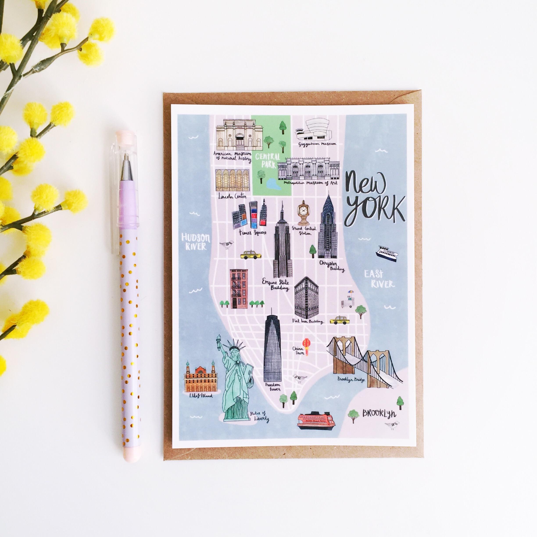 New York Karte Postkarte New York illustrierte Karte Hand | Etsy