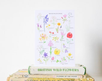 British Wildflowers Card - Floral Greetings Card - Wildflower Illustration - British Nature Print - Floral Print - Botanical Print