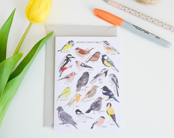 British Birds Card - Greetings Card - British Birds Print - Bird Illustration - British Nature - Watercolour Birds - Wildlife Postcard