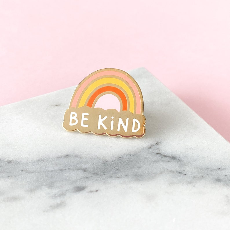 Be Kind Enamel Pin  Mental Health Awareness Pin  Rainbow image 0