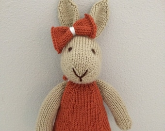 Knitted Bunny Rabbit Stuffed Toy in Dress - Stuffed Bunny - Handmade Rabbit - Kids Soft Toy - Stuffed Animal Toy